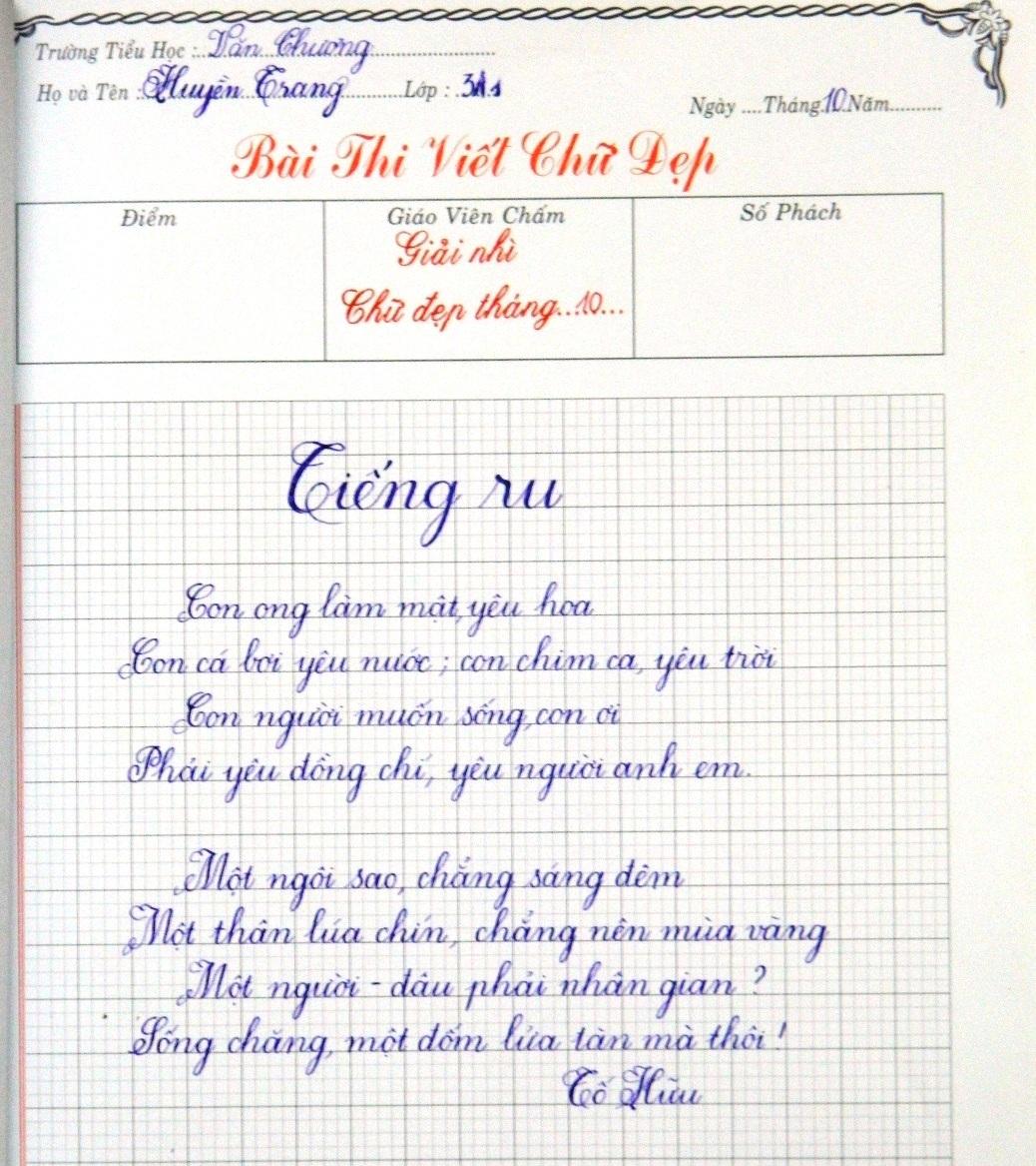 Bài thi viết chữ đẹp tháng 10 của giáo viên trường Tiểu học Văn Chương -  Trường tiểu học Văn Chương